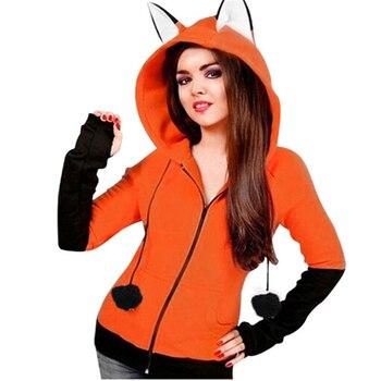 Halloween Costumes For Women Anime Fox Orelhas Ears Orange Hoodie Sweatshirts Plush Ball Decoration Christmas Jackets Outwear