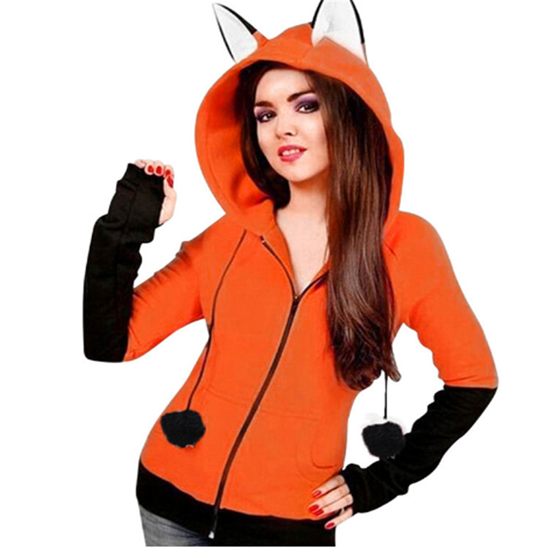 Halloween Costumes For Women Anime Fox Orelhas Ears Orange Hoodie Sweatshirts Plush Ball Decoration Christmas Jackets Outwear