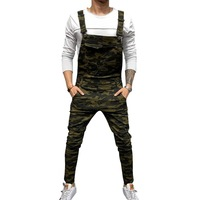 CYSINCOS Men Adjustable Shoulder Strap Slim Denim Overalls Casual Bib Pants Jumpsuit Fashion Overalls For Man Suspender Pants