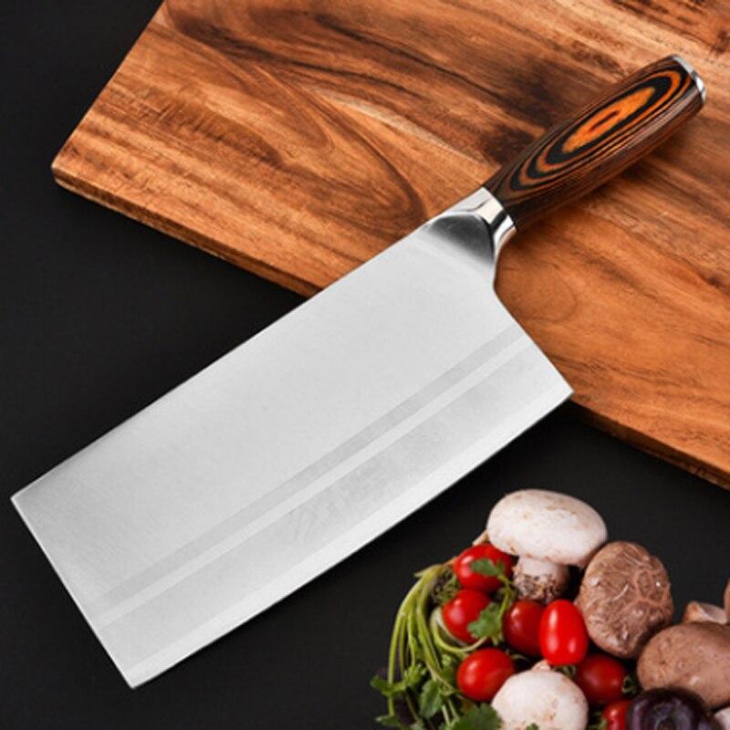 New Professional 7 polegada Cutelo Chinês Alemanha Chefs de Aço Carbono Faca De cozinha faca de Cozinha Facas Cozinha Pakkawood Lidar