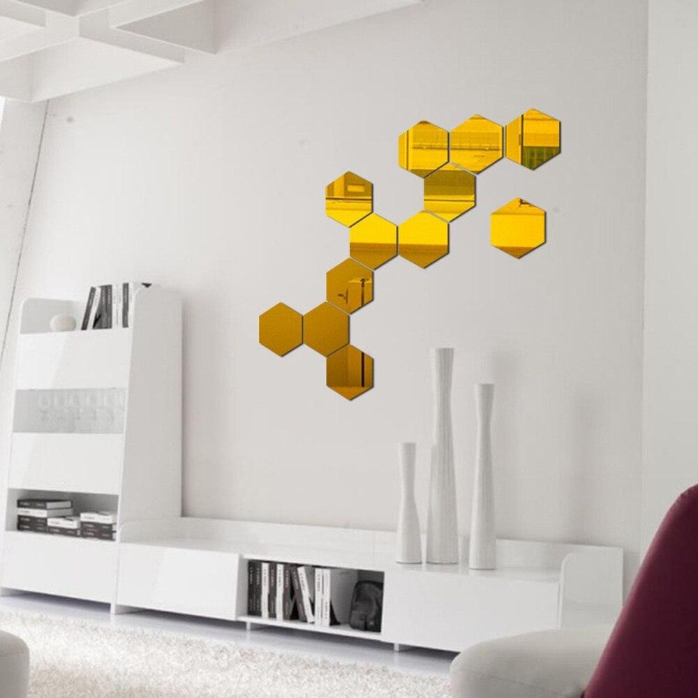 12PCs/Set DIY 3D Mirror Wall Sticker Hexagon Home Decor Mirror Decor Stickers Art Wall Decoration Stickers Multi-color Drop ship 2
