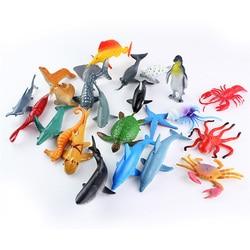 24 шт. морские фигурки животных, игрушки для детей, 6 см, мини-украшение для морской жизни, коллекционная имитация, черепаха, Кит, кукла