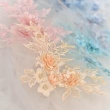 цена на 2Pieces 15Colors 3D Lace Flower Decals Handmade Diy Wedding Dress Accessories Embroidered Appliques embroidered patc  Handmade