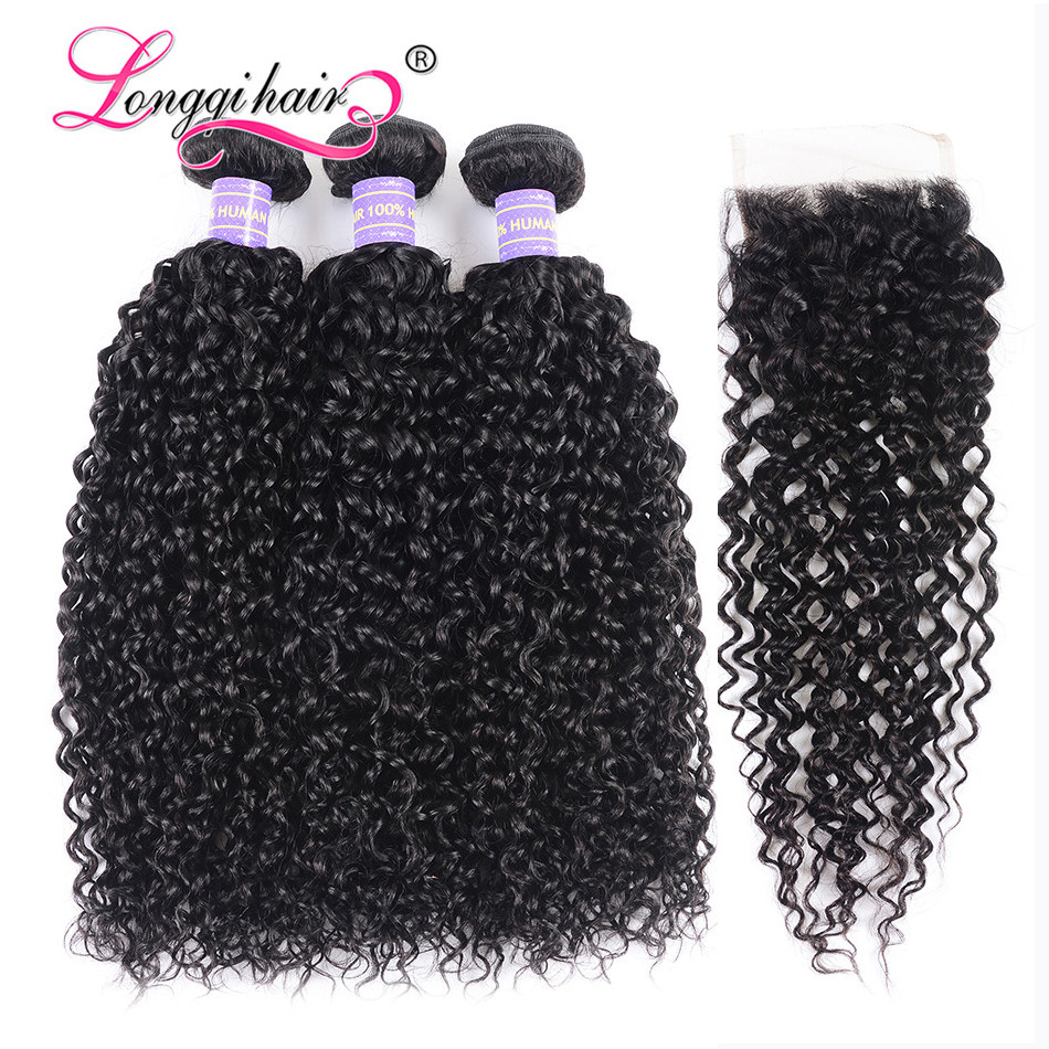 Longqi Cambodian Curly Hair 3 Bundles With Closure Swiss Lace Closure with Bundles Remy Human Hair