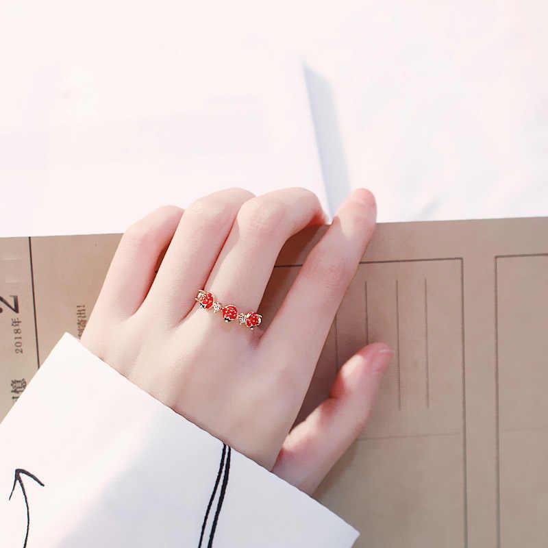 Nuevo encantador anillo de fresa dulce anillo Abierto Femenino coreano simple novias salvajes anillo de circón joyería de moda al por mayor