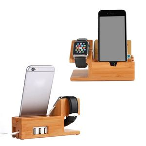 Image 2 - Bamboo Charging Charger Station Dock Stand Holder With 3 Usb Hub Port Cable For Apple Watch  Iphone 8 X 7 6 6S Plus