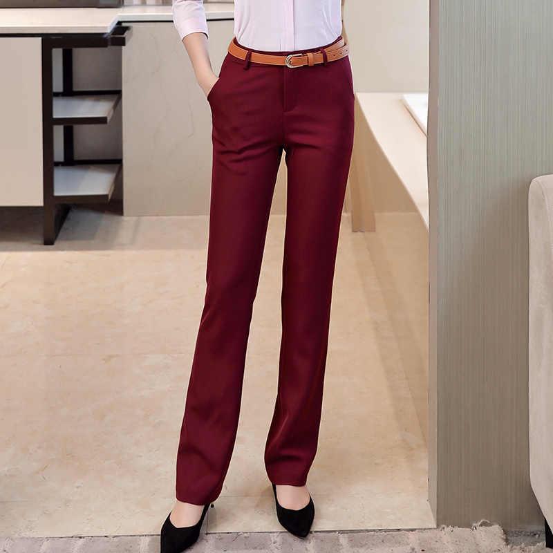 Pantalones De Vestir Formales De Cintura Alta Para Oficina Para Mujer Pantalones De Lapiz Rectos Suaves Bolsillos De Longitud Completa Negro Azul Gris Rojo Pantalones Y Pantalones Capri Aliexpress