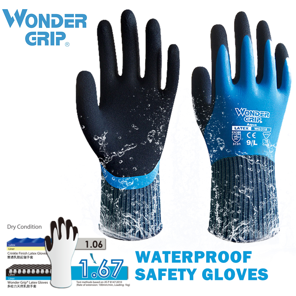 Safety Waterproof Work Gloves  Woman Men's Working Gloves Double Coated Nylon Gloves Comfortable Latex Foam For Multipurpose