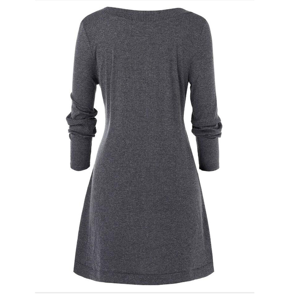 Plus Size 5XL Winter Solid Buttons Tunic Sweater Women Warm Long Sleeve Knitted Pullover Sweater Female Jumper Women Ladies Tops 2