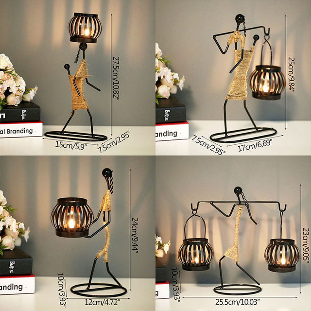 Ins Metal Candlestick Abstract Character Statue Candle Holder Decoraction Ornaments Handmade Figurines Home Decoration Art Gift 6