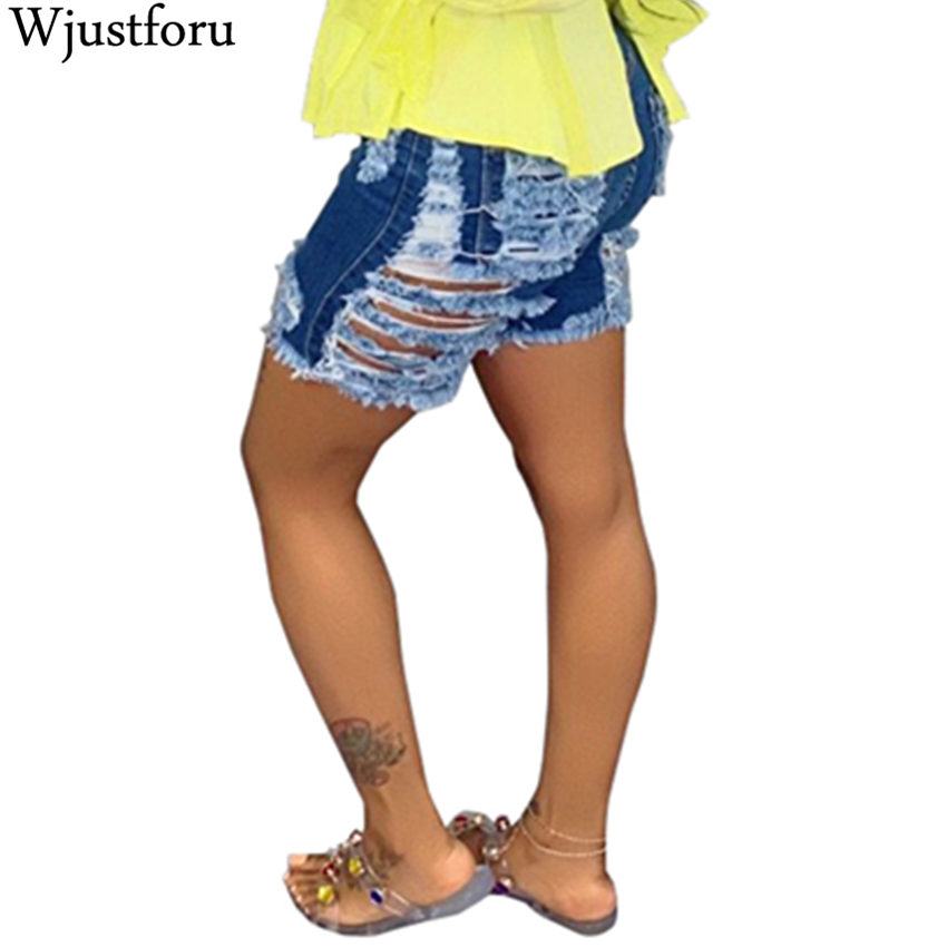 Wjustforu Sexy Ripped Denim Shorts Women Elastic Destroyed Hole Jeanshorts Short Pants Denim Shorts Ripped Casual Sexy Jeans