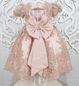 Роскошное кружевное платье с жемчугом и розовыми цветами для девочек; вечерние платья с короткими рукавами для маленьких девочек; винтажны...