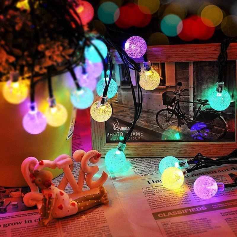 50 LEDs 10m Crystal Ball Solar Light Outdoor IP65 Waterproof String Fairy Lamps Solar Garden Garlands Christmas Decoration