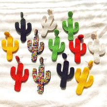 Green Cactus Earring for Women Bohemian Colorful Beads Drop Earrings Plants Rhinestone Tassel Handmade Gifts E69641
