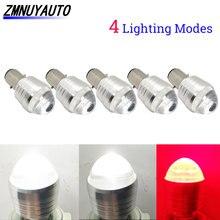 5 pçs h4 lâmpada led motocicleta h6 led ba20d motor luz dianteira moto scooter atv farol 12 v flash strobe branco + vermelho