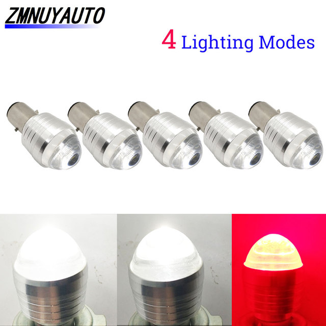 5PCS H4 LED Bulb Motorcycle H6 Led BA20D Motor Front Light Moto Scooter ATV Headlight 12V Flash Strobe White+Red