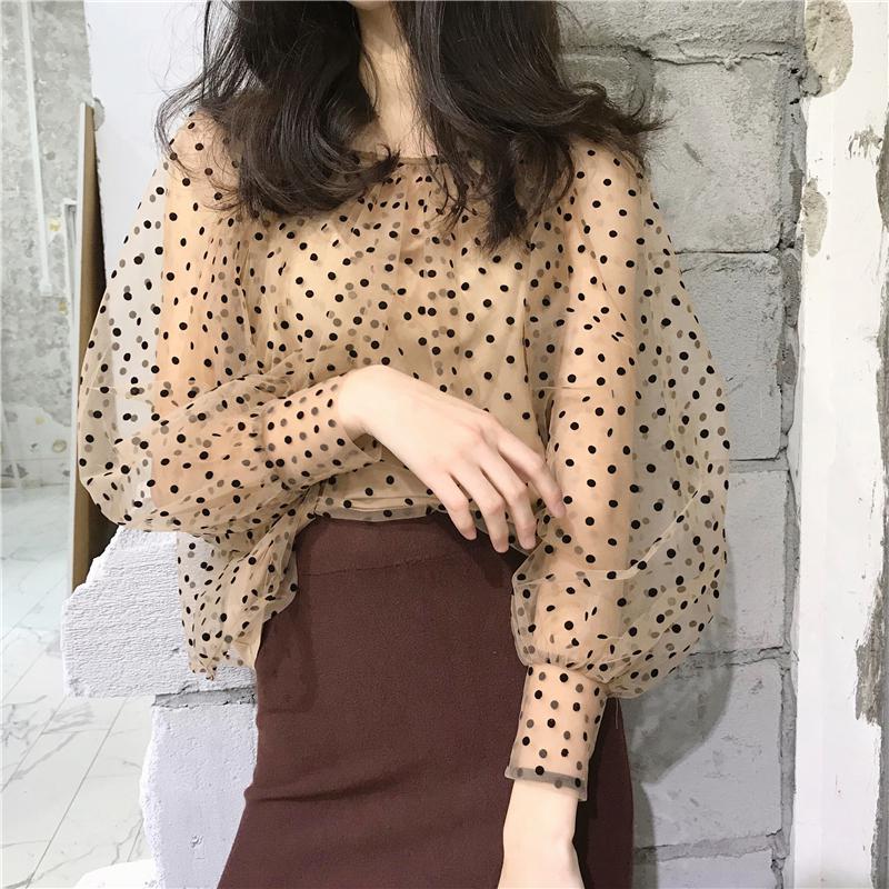 Women Elegant Sexy Mesh Polka Dot Summer Blouses Transparent Sweet Slim Puff Sleeve O-neck Shirt Fashion Streetwear Tops