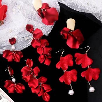 YAOLOGE New Shiny Side New Fashion Brand Jewelry Red Rose Flower Long Dangle Earrings For Women.jpg 350x350 - YAOLOGE New Shiny Side New Fashion Brand Jewelry Red Rose Flower Long Dangle Earrings For Women Elegant Korean Tassel Earrings