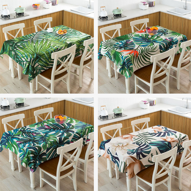 New Year Decoration Christmas Gift Tablecloth Geometric Tropical Plant Leaves Waterproof Linen Table Cloth Cover