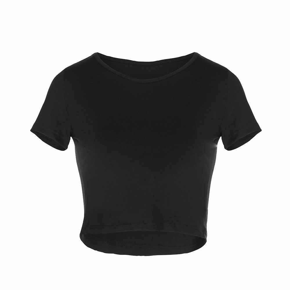Vrouwen Zomer T-shirts Korte Mouwen Ronde Hals Slim Fit Casual Trui Crop Tops Nyz Winkel