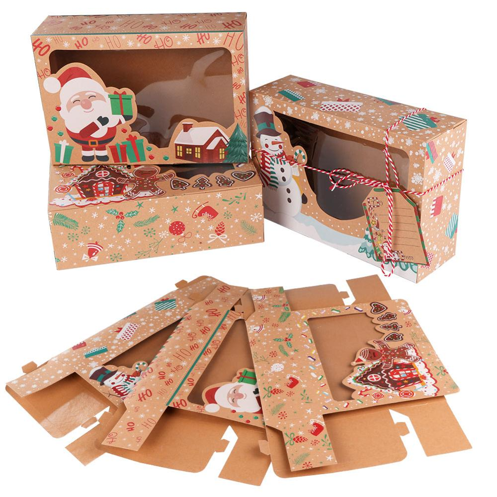 OurWarm-12-24pcs-Kraft-Paper-Christmas-Cookie-Gift-Boxes-with-Clear-Window-22-15-7cm-New (2)
