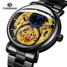 FORSINING automatique mécanique hommes montre bracelet militaire Sport mâle horloge Top marque luxe sculpter squelette étanche homme montre 041