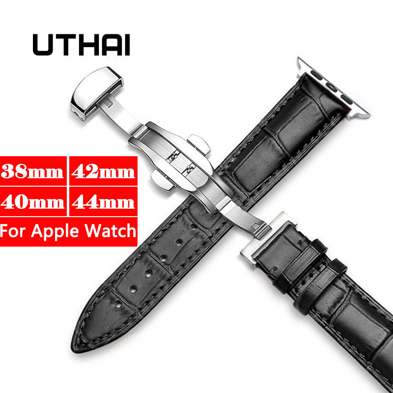 UTHAI For Apple Watch Band Strap Genuine Leather Watchband For IWatch 3/2/1 38mm 42mm For IWatch 4/5 40mm 44mm Watch Accessories