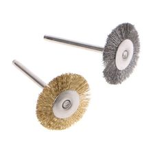 44 Pieces Mini Wire Brush Wheel Cup Brass Steel Set 1/8inch (3mm) Shank For Power Dremel Rotary Tools Polishing