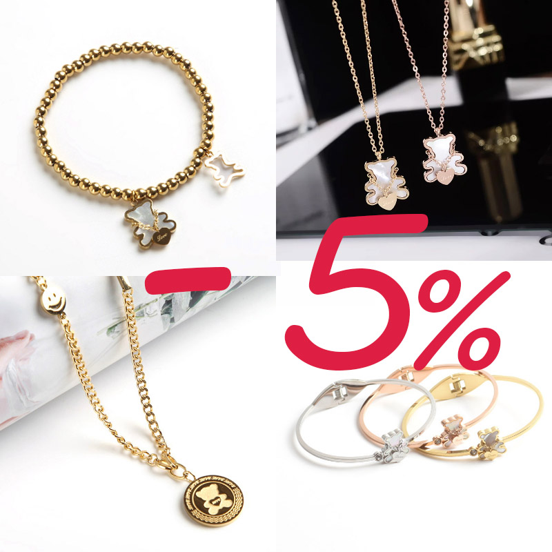 OUFEI 2020 New Bear Design Jewelry Bracelet Necklace Women Girl Gift Gold Color Romantic Cute Beaded Bracelet Titanium Steel Charm Bracelets    - AliExpress