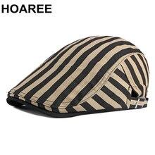 Hoaree мужские береты в полоску цвета хаки из 100% хлопка винтажные