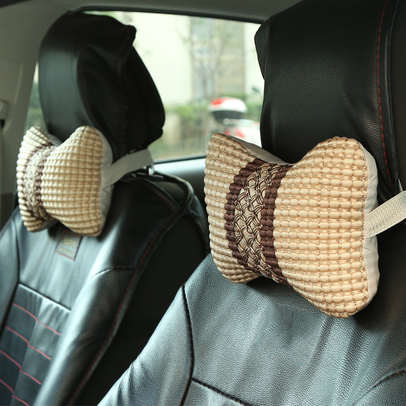 1pc Universal Headrest Car Neck Pillow Ice Silk Car Bone Rest Cushion Small Head Pillow For Car Interior Accessories