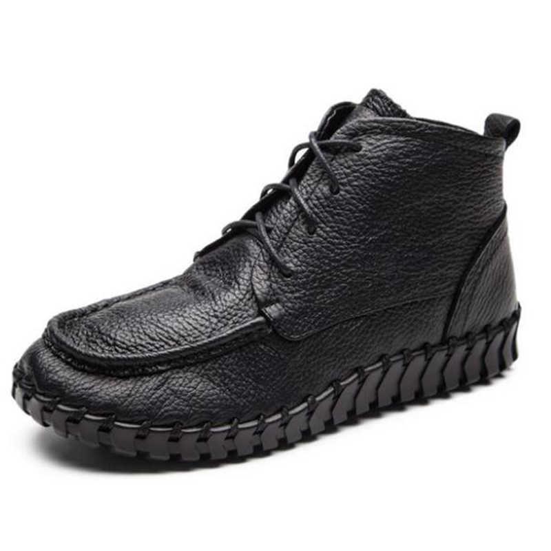 Hakiki Deri tek ayakkabı kadın ilk katman deri Patik bahar sonbahar dantel-up rahat yuvarlak kafa yumuşak tabanlı ayakkabı y417