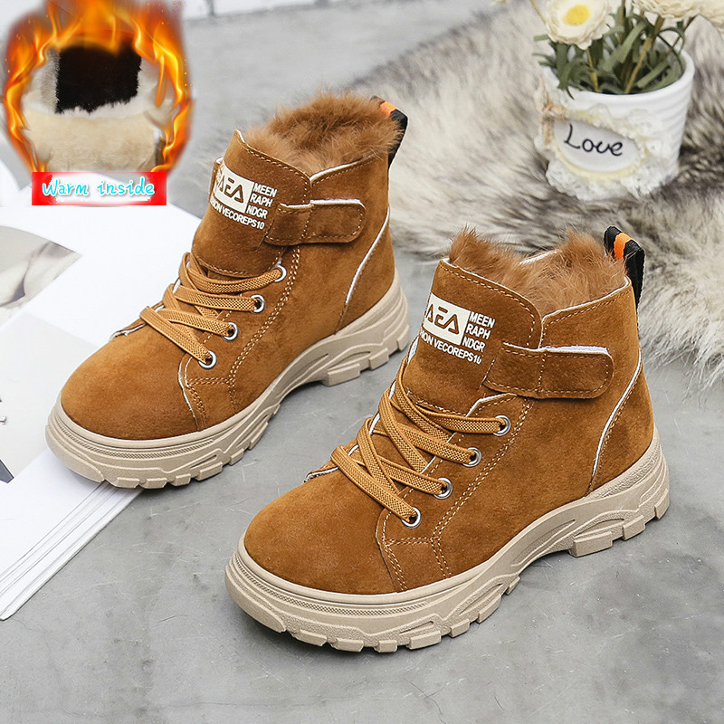Hot Sale Children Martin Boots Leather Shoes Boys  Winter Real Rabbit Hair Warm Cotton Shoes Fashion Girls Kids Boots Non-slip