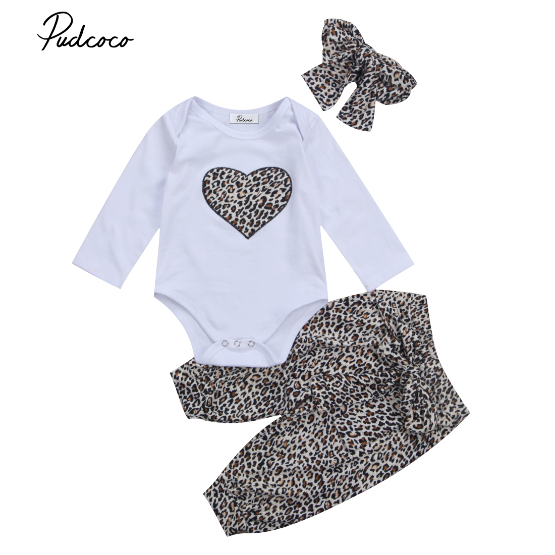 New Lovely Newborn Toddler Infant Baby Girl Romper +Long Floral Pants+Headband 3Pcs Outfit Leopard Heart Clothes Sets