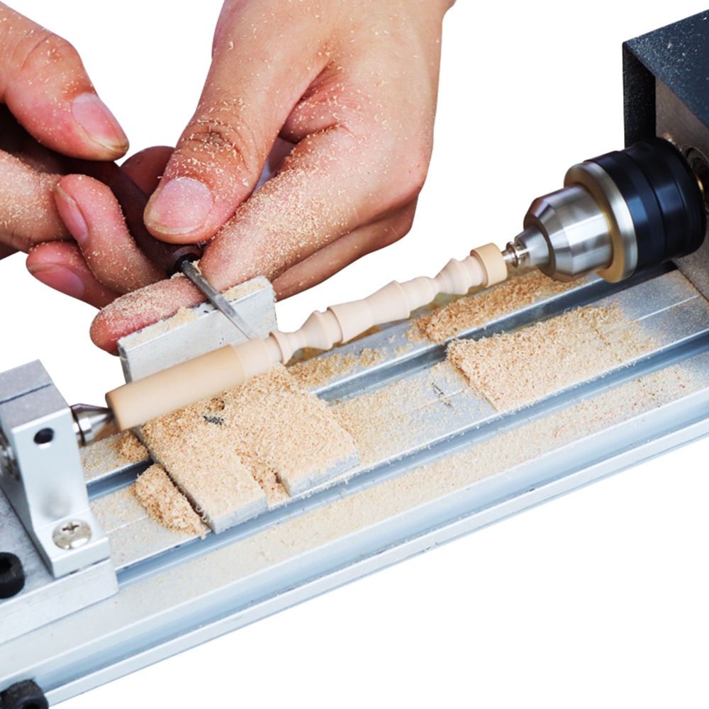 Mini Lathe Beads Polisher Machine SEAAN-CNC Machining for Table Woodworking Wood DIY Tool Lathe DIY Woodworking Craft Rotary Tool