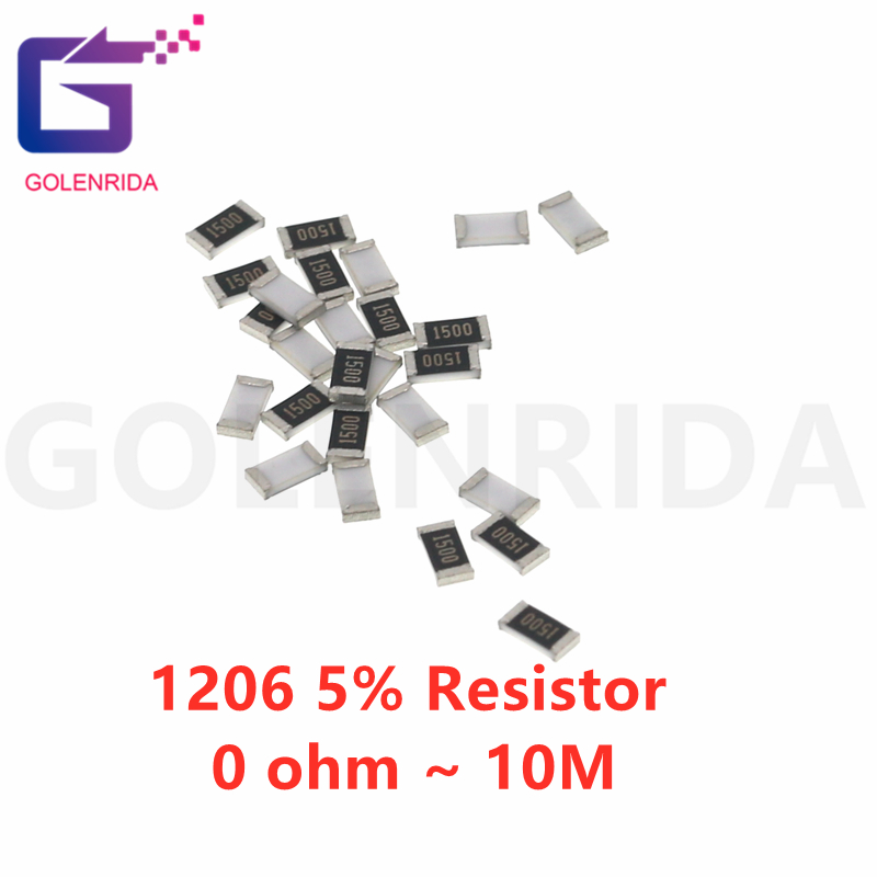 100Pcs 1206 SMD 5% resistor 0R ~ 10M 1/2W 0 1 1 10 100 150 220 330 ohm K 2.2K K 100K 0R 10 1R 10R 100R 150R 220R 330R
