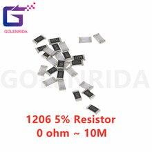 100Pcs 1206 SMD 5% resistor 0R ~ 10M 1/2W 0 1 10 100 150 220 330 ohm 1K 2.2K 10K 100K 0R 1R 10R 100R 150R 220R 330R