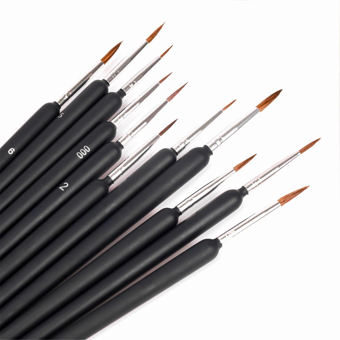 10 шт. миниатюрный набор кистей для рисования, Профессиональные Нейлоновые крюк линия ручка арт лайнер для рисования для обучения нанесению ...