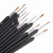 10 pçs pincéis de pintura em miniatura conjunto profissional linha de gancho de náilon caneta arte forro desenho para pintura em aquarela acrílica