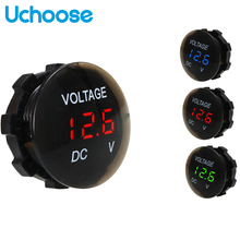 Panel Voltmeter Boat Led-Display Digital Motorcycle Auto Universal Round for Car ATV
