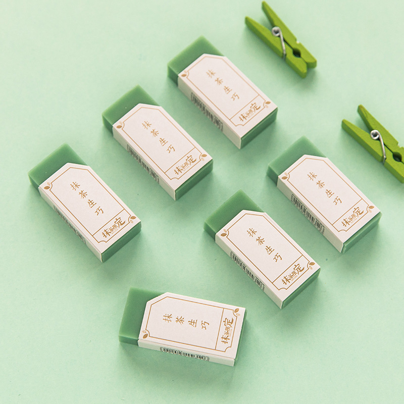 Green Matcha Lngenious Drawing Art Supplies Rubber Eraser Primary Student Prizes Promotional Gift Stationery