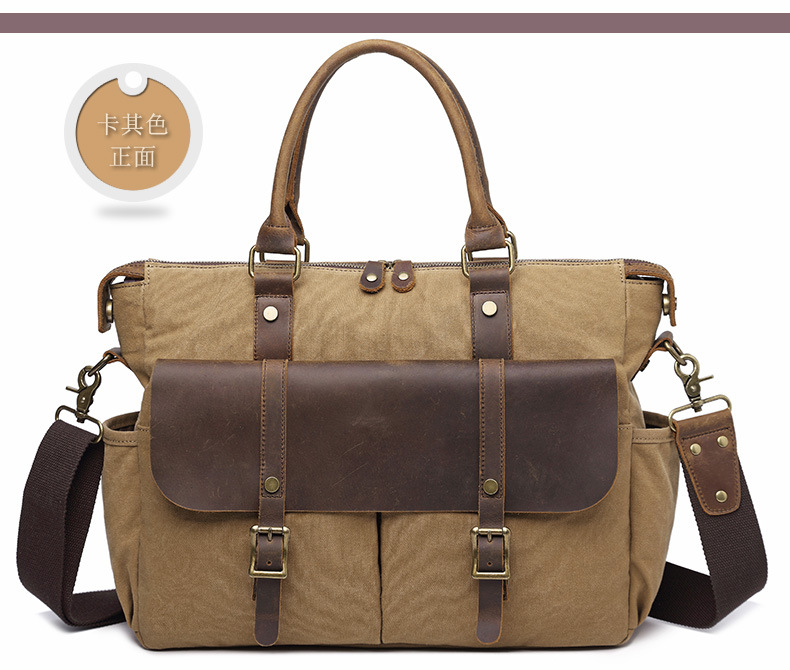 Ougger Computer Breifcase Male Handbags Big Khaki Canvas Vintage England Style Crossbody Bags With Zipper For Business