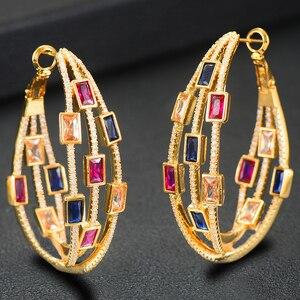 Image 3 - GODKI 2020 Trendy Twist Attraverso Orecchini A Cerchio Dubai Colorato Delle Donne Da Sposa Monili di Cerimonia Nuziale Apertura Orecchino pulseras mujer moda