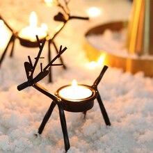 Iron Candlestick Cartoon Reindeer Shape Tea Light Holder Christmas Decorations Candles for Holiday Wedding Decoration