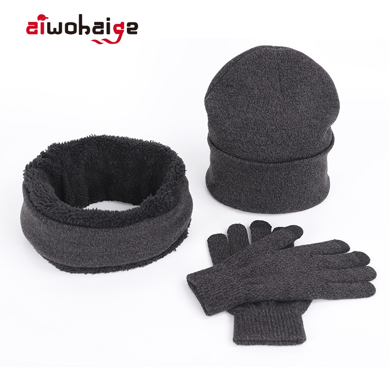 2019 New Fashion Winter Knit Hat Scarf Gloves 3 Pieces Set Women Men Plus Velvet Thick Beanies Touch Screen Gloves Warm Soft Cap