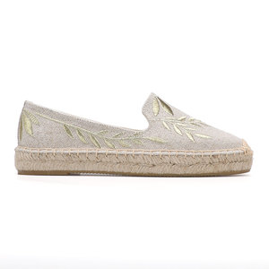 Image 4 - 2020 Hot Sale Real Flat Platform Hemp Rubber Slip on Casual Floral Zapatillas Mujer Sapatos Womens Espadrilles Flat Shoes