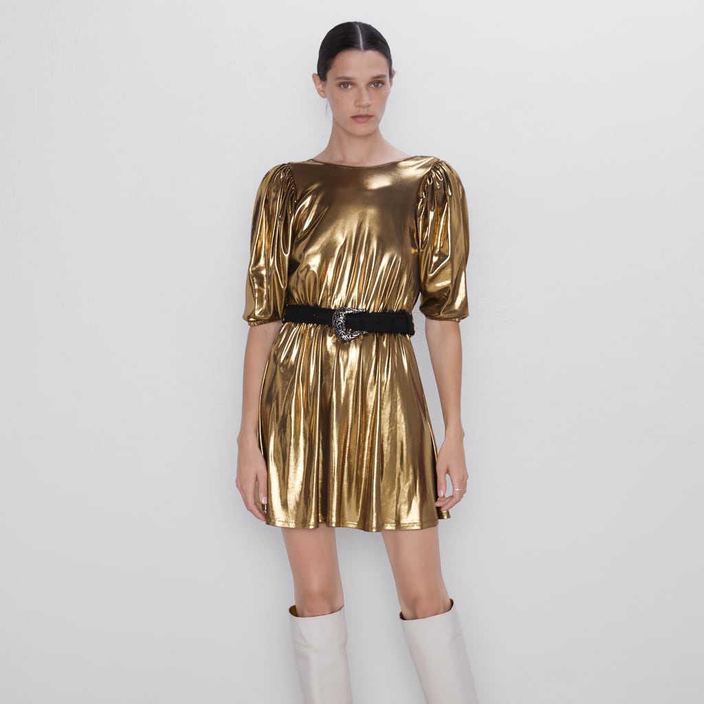 2019 ZA модное роскошное Золотое платье женская осенняя одежда трендовые