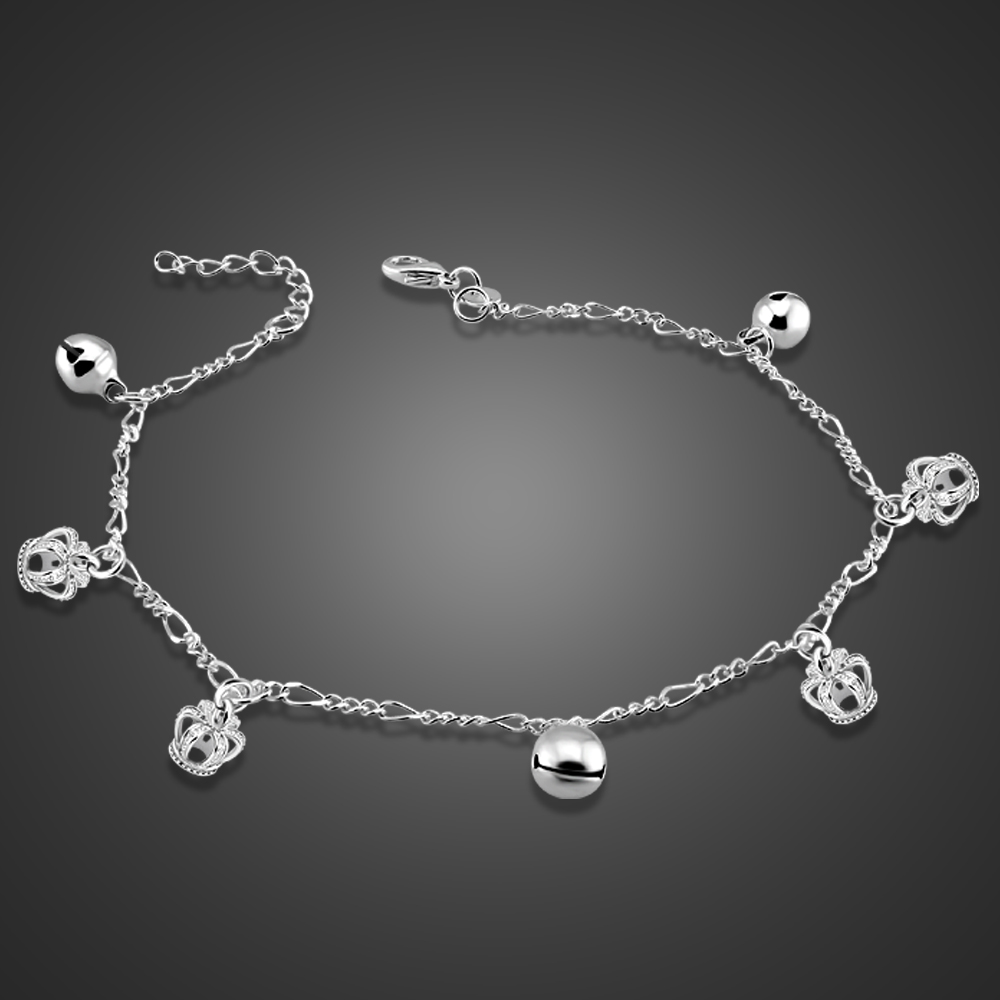 100%925 Sterling Silver Cute Bell crown Anklets for Women Foot Jewelry 26cm Beach Barefoot Sandals Bracelet on the leg ankle