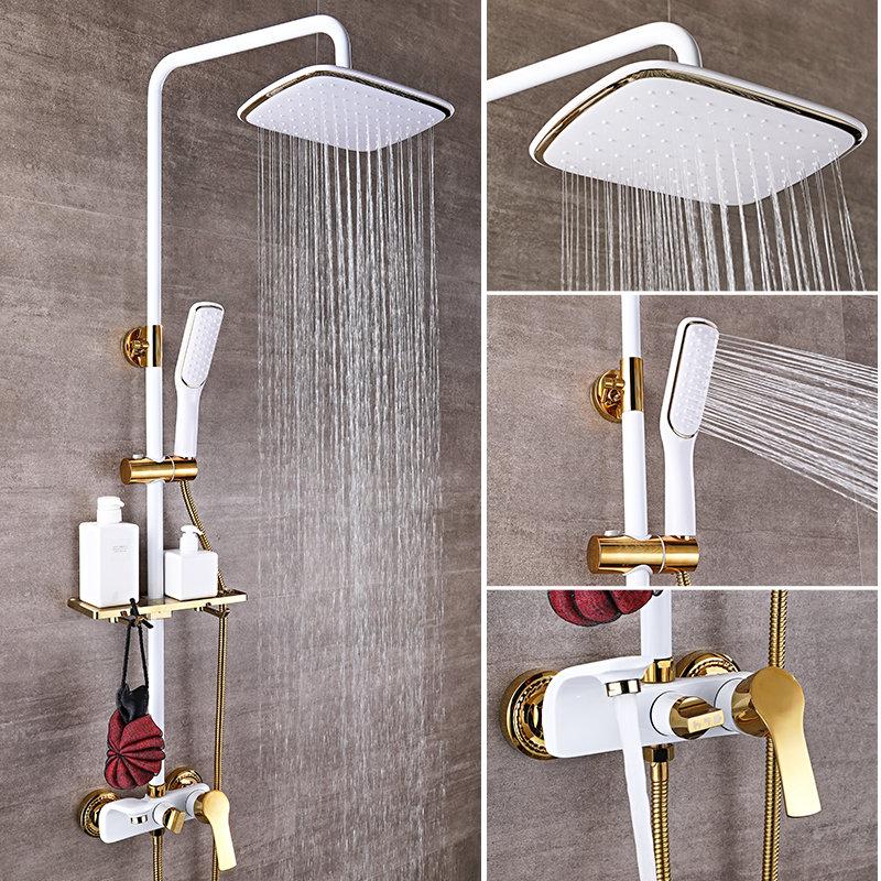 Hcce87e9edff846bea54050ff9850b4b90 Shower Set SDSN White Gold Bathroom Shower System Quality Copper Brass Bathtub Faucet Rainfall Shower Head Spa Bath Shower Sets