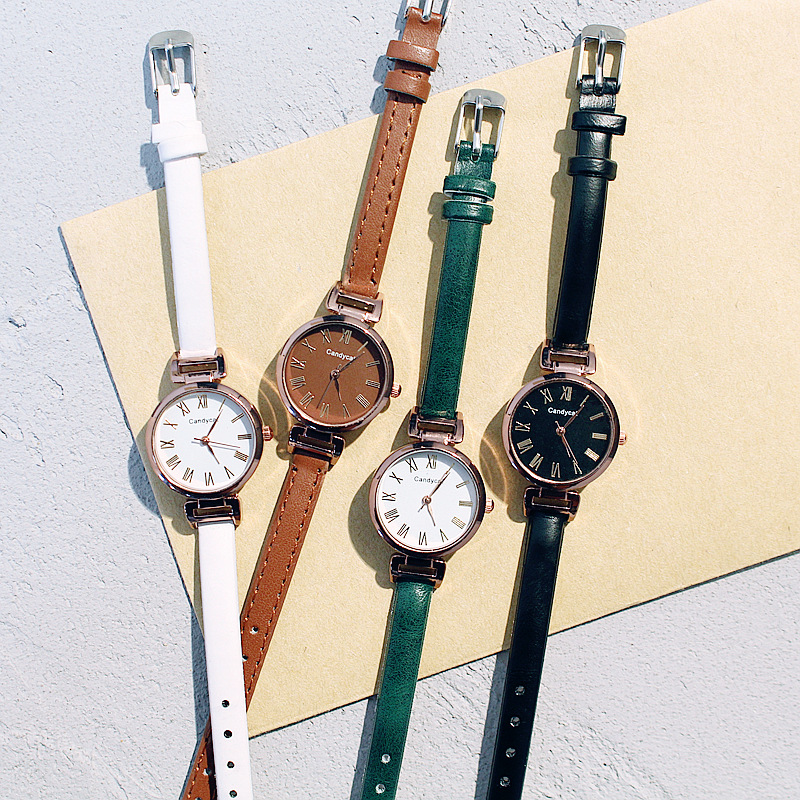 Women's Watches Leather Fine Strap Bracelet Quartz Wrist Watch Brown Black Red Clock Ladies Wristwatch Female Fashion